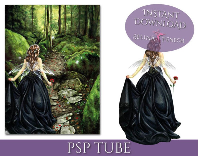 PSP Tagger Tube - Along the Forest Path - Fairy Digital Scrapbooking  Download PSD Graphic