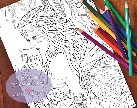Wild Beauty Fairy Magic Coloring Page/Digi Stamp Fantasy Printable Download  by Selina Fenech