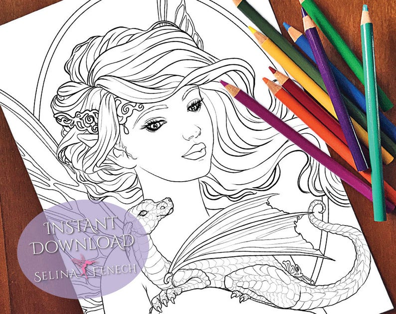 Pretty Fairy and Dragon Fairy Magic Coloring Page/Digi Stamp Fantasy  Printable Download by Selina Fenech