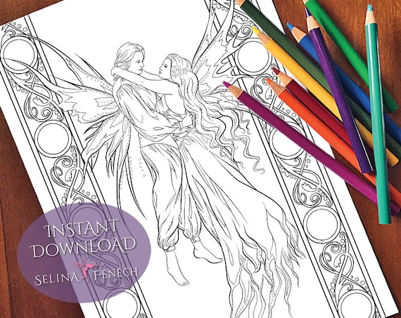 Romantic Fairy Couple In Love Coloring Page Digi Stamp Fantasy Printable Download By Selina Fenech