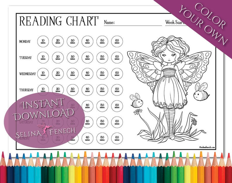 Faedorables Buzzy Buddies Reading Chart Coloring PageDigi Stamp Fantasy Printable Download by Selina Fenech
