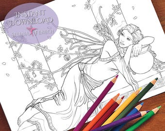Daydream Fairy Coloring Page/Digi Stamp Fantasy Printable Download by Selina Fenech