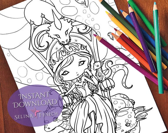 Dragon Queen Cute And Creepy Coloring Page Digi Stamp Fantasy Etsy
