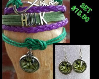 Infinity Hulk bracelet and earrings set