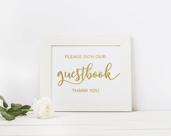 Wedding Signs Real Foil Gold Foil Wedding Guestbook Sign Foiled Guestbook Alternative Gold Wedding Sign Photo Guest Book Gold