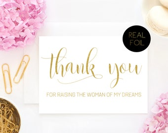 Thank You For Raising The Woman Of My Dreams, In Laws Card, Real Foil Card, Bride and Groom Cards, Gold Cards, Wedding Greeting Cards