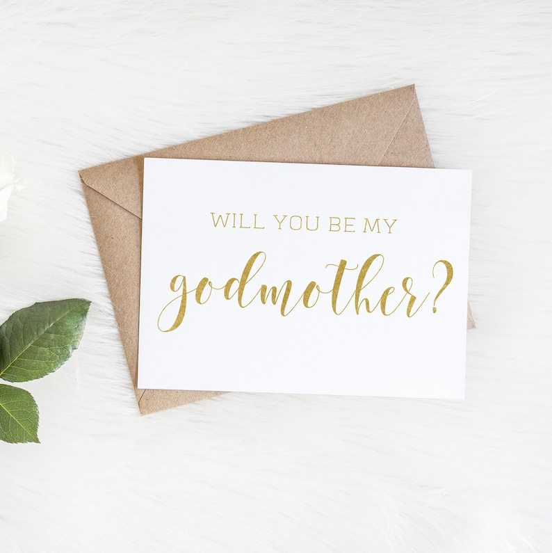Will You Be My Godmother Real Foil Card Card For Godmother Baptism Card Real Foil Godmother Card