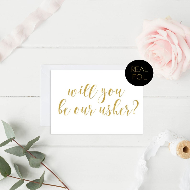 Wedding Card Gold Cards Wedding Party Bride and Groom Cards Usher Card Real Foil Card Real Foil Wedding Cards Will You Be Our Usher