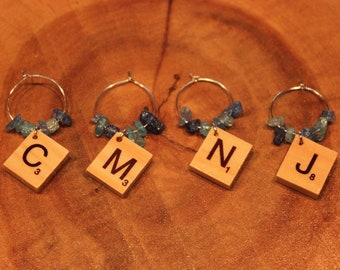 Cape May New Jersey Scrabble Tile Wine Glass Charms