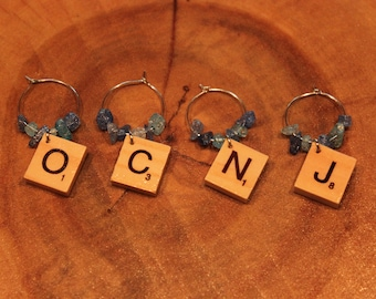 Ocean City OCNJ New Jersey Maryland Scrabble Tile Wine Glass Charms