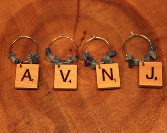 Avalon New Jersey Scrabble Tile Wine Glass Charms
