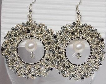 Hoop earrings Silver / earrings Swarovski / earrings / earrings / Swarovski crystals / beadwork and embroidery / Christmas gift
