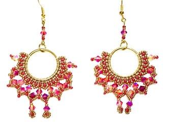 Hoop earrings earrings gold Swarovski crystals pink framboise earrings beadwork embroidery earrings glass pearls