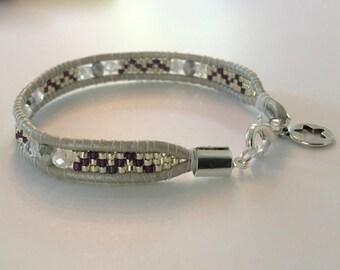Wrap leather bracelet bracelet silver bracelet fashion jewelry Peyote beadwork handmade