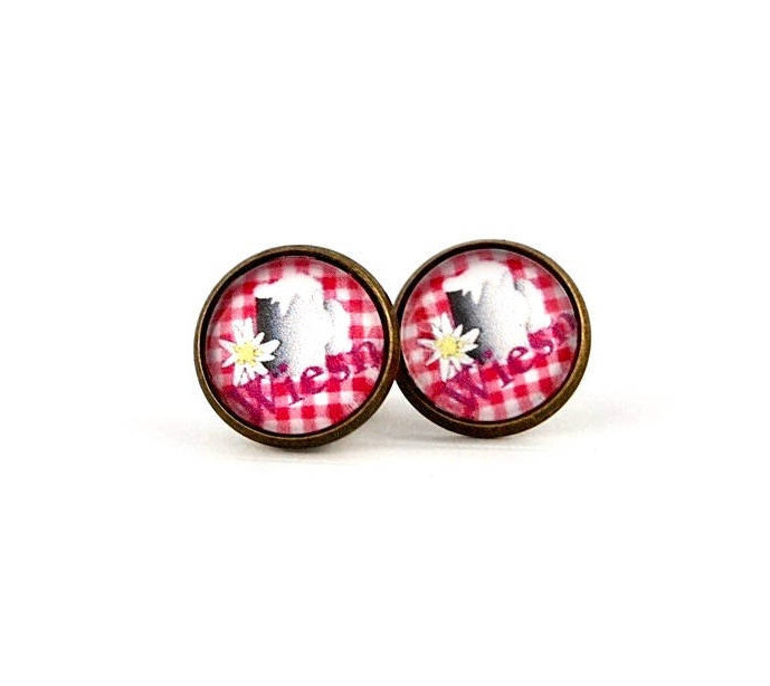Edelweiss Earrings Pink, size on diamonds, cabochon-stud earrings 10-12 mm, earrings bronze, Oktoberfest, meadows, dome earrings, handmade