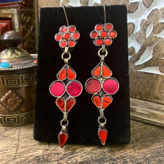 Turkmen Earrings Small Vintage Turkmen Silver-Tribalearrings with Red Beads Silver Earrings Tribal Earrings Nomad Jewelry Tribal Earrings
