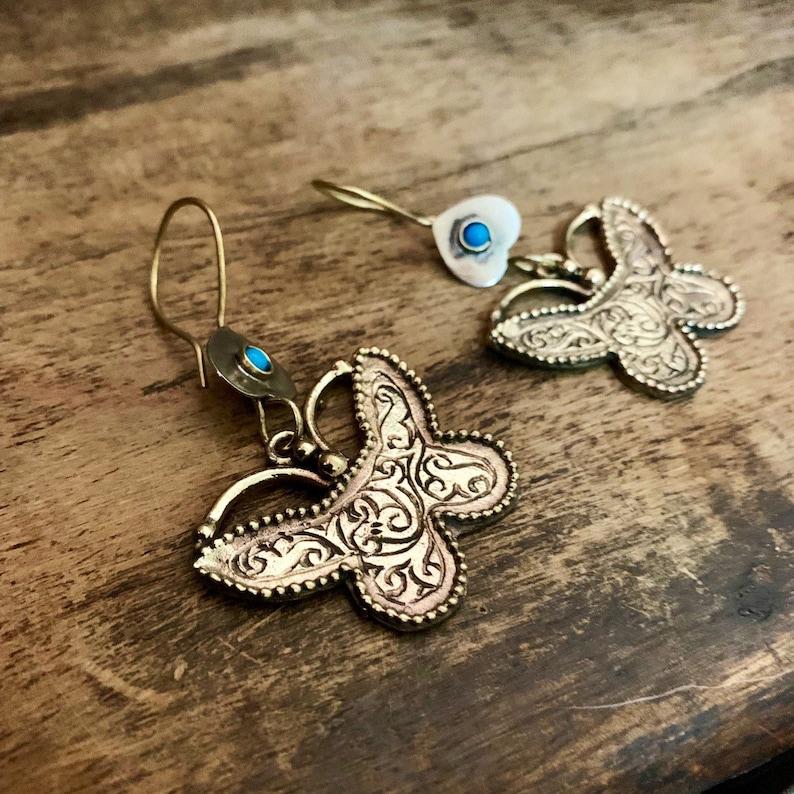 Boho earrings embossed artisan earrings Gypsy  brass ethnic