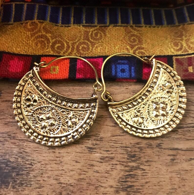Bohemian half moon embossed small brass earrings