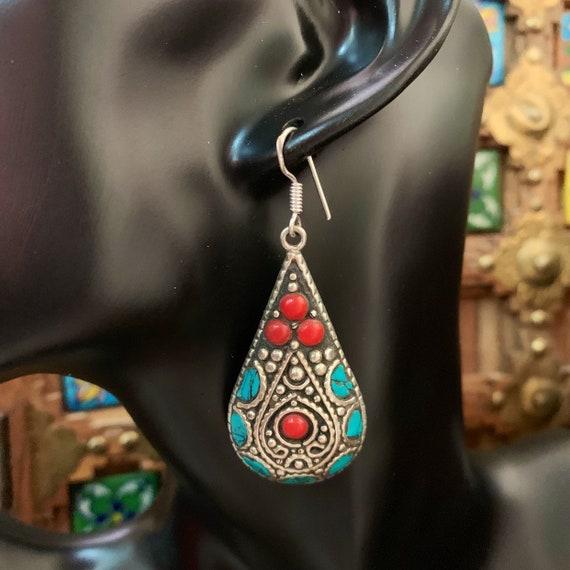 long earrings artsy colorful earrings bohemian extra long bold gemstone statement jewelry turquoise chips boho Turquoise earrings