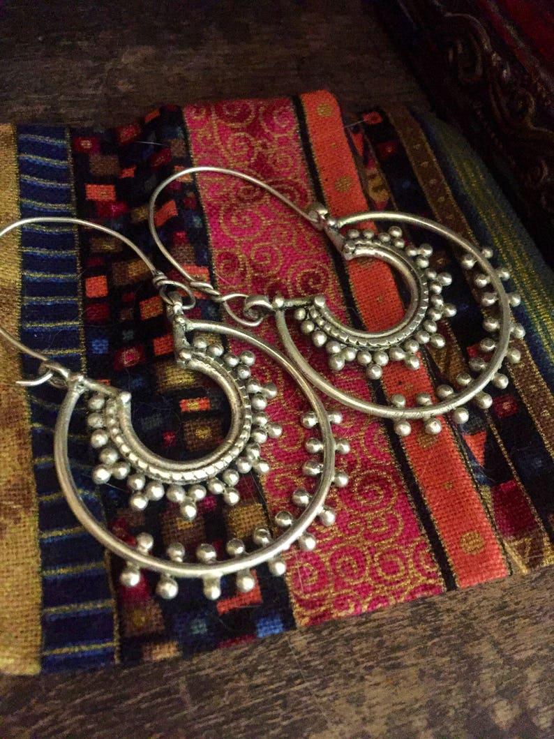 silver gilt boho gypsy earrings kuchi hoop earrings style handmade Ethnic earrings gypsy ethnic jewelry kuchi