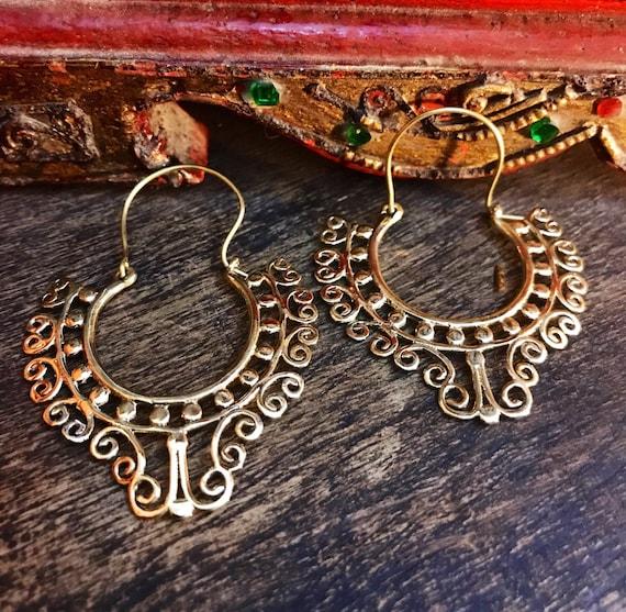 Aztec earrings Gypsy earrings. Tribal brass earrings African brass earrings Bohemian brass earrings Ethnic jewelry Festival earrings