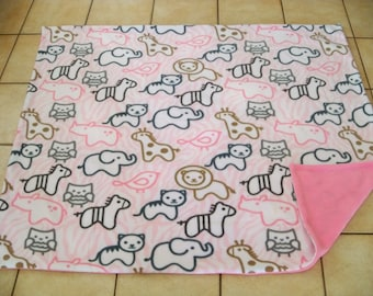 Adorable Multi Animals Baby All Fleese Pink Throw Blanket Elephant/Rino/Horse/Dog/Cat