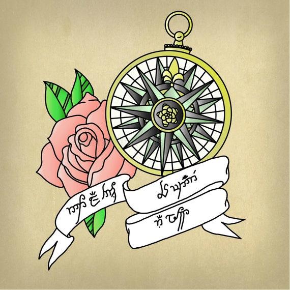 Tolkien Compass Tattoo Flash 10x10 Print Etsy