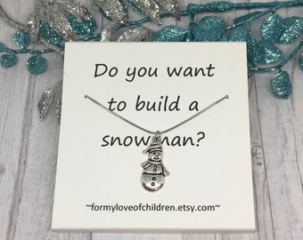 do you want to build a snowman, snowman necklace, snowman charm, winter necklace, Christmas necklace, little girls necklace, snowman jewelry