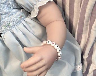 baby bracelet, personalized bracelet, bead bracelet, name bracelet, i love you bracelet, i love you jewelry, baby jewelry, children jewelry
