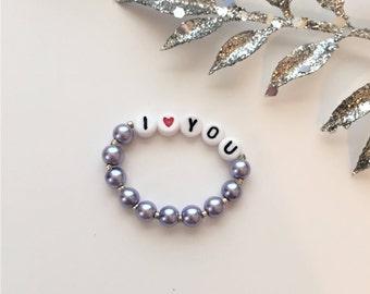 baby bracelet, pink bracelet, i love you bracelet, baby jewelry, bead name bracelet, pearl bracelet, flower girl gift, granddaughter gift
