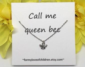 bee necklace, queen bee, bee jewelry, call me queen bee, bee charm, toddler necklace, toddler jewelry, little girls necklace, girls necklace