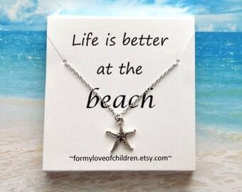 Starfish necklace beach necklace starfish jewelry nautical necklace sea necklace beach jewelry little girl necklace custom starfish necklace
