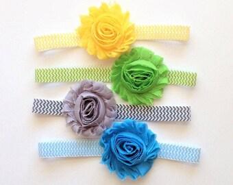 set of 4 headbands, chevron headbands, baby headbands, newborn headbands, chevron hair bows, shabby chic hair bow, shabby chic headband, bow
