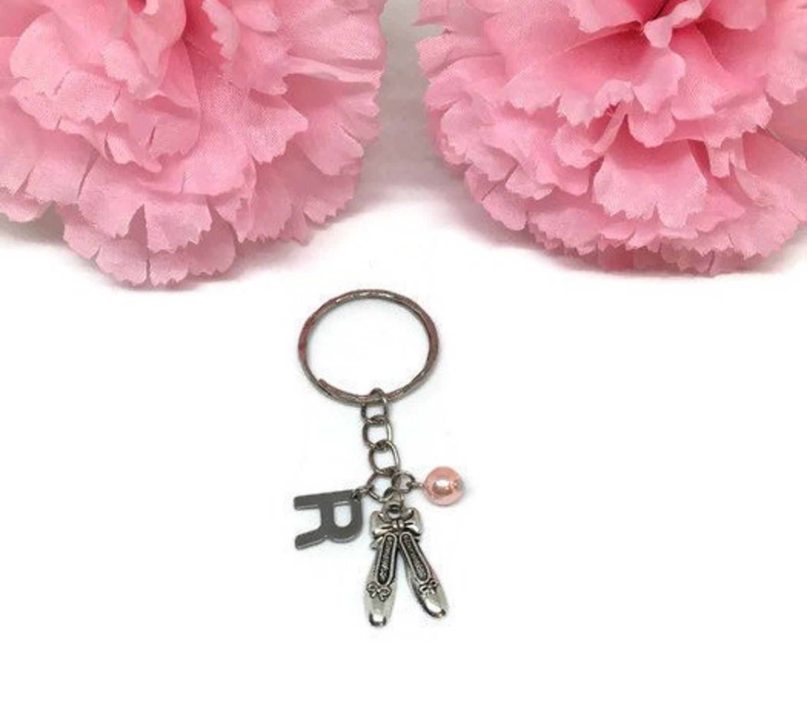 ballet shoe keychain ballet slippers keychain personalized keychain silver keyring custom keychain ballerina keychain ballet gif