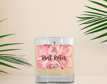 Rose Candle, Pink Roses Candle, Soy Wax Candle, Scented Candle, Home Decor