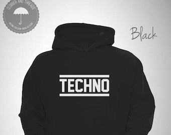 db5d6d3e5a2ed Techno Hooded Sweatshirt Music Lovers House Party Electronic I Love Techno  Hoodie