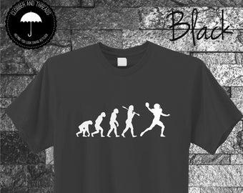 932de571b9 American Football Evolution Of Man T-Shirt Foot Ball International League  Quarter Back Top