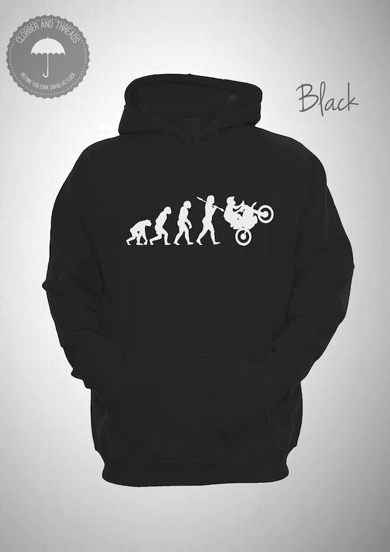 Evolution of Man Fishing Black White Funny Gift Hoodie Hooded Sweatshirt