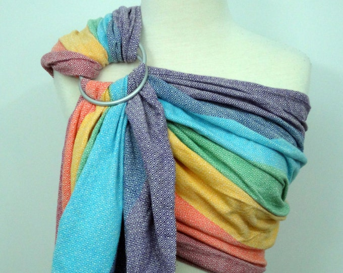 Girasol wrap conversion ring sling- Light Rainbow - 100% Cotton - WCRS, blue, turquoise, green, yellow, orange, red