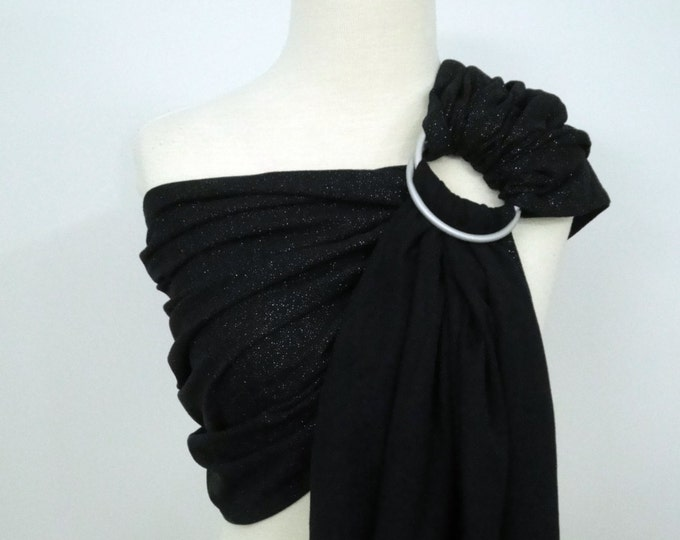 SHINY Woven ring sling - 100% organic cotton- Limited edition - Galaxy - Black with glitter dots