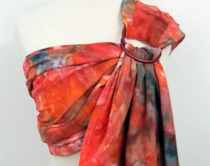 Broken twill ring sling -100% organic cotton- hand dyed- baby wrap - orange, red, blue, black