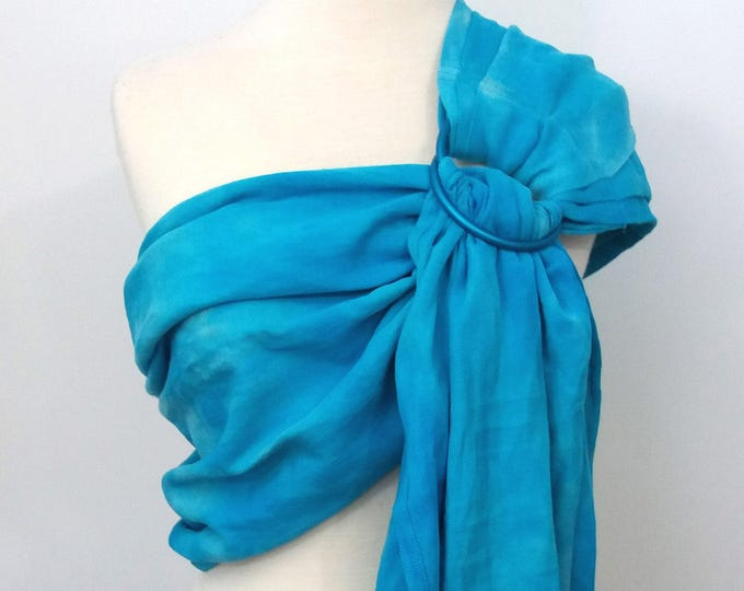 Ring sling wrap conversion, cotton - Linen, hand dyed, turquoise, blue, water, wave, beach