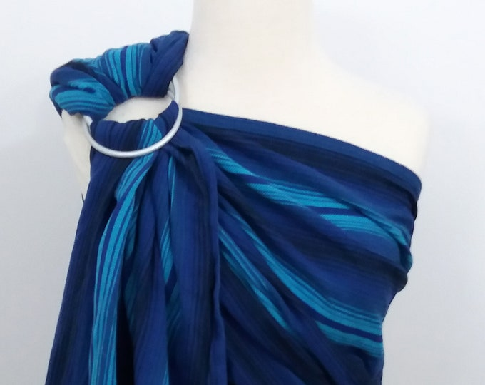 Girasol wrap conversion ring sling- Aqua azul sombre  - WCRS, pale blue, royal blue, turquoise, black