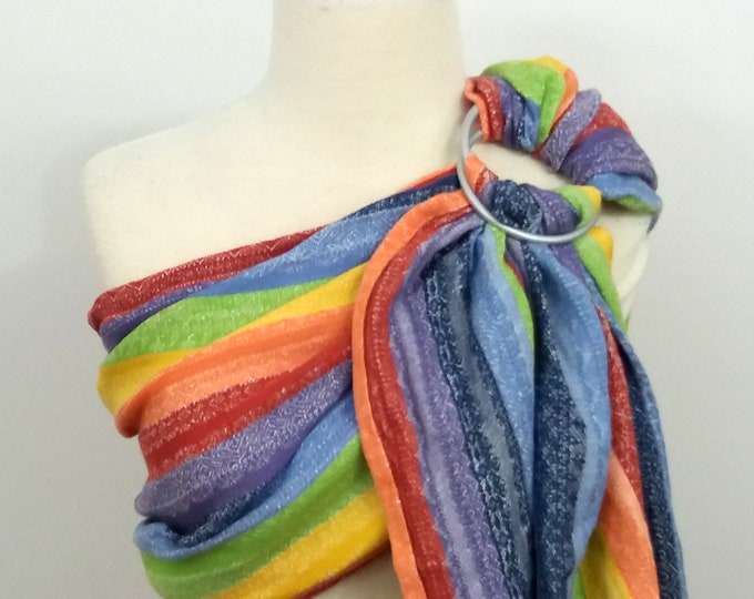 Ellevill wrap conversion ring sling- Gaia Linen Rainbow - cotton-linen