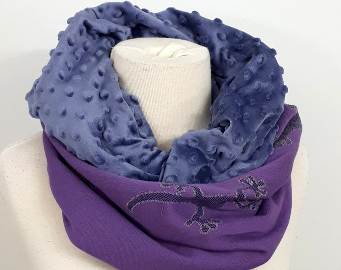 Wrap conversion winter cowl / neck warmer / snood -- Soft minky - Didymos Gecko