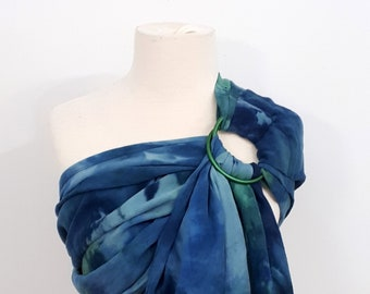 Ring sling, wrap conversion ring sling, cotton - Linen, hand dyed, navy, blue, turquoise, aqua, green