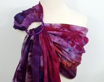 Ring sling, wrap conversion ring sling, cotton - Linen, hand dyed, purple, lilac, , salmon, orange, pink
