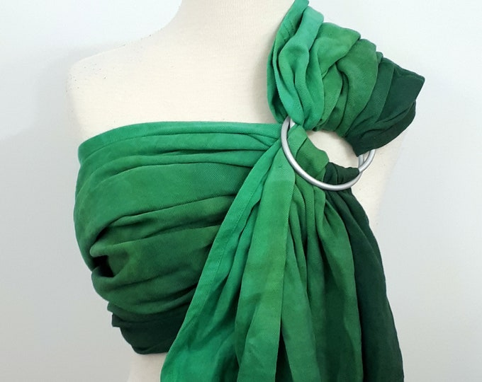 Gathered shoulder ring sling, wrap conversion ring sling, cotton - Linen, hand dyed, turquoise, green, emerald