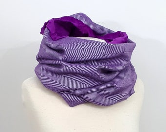 Wrap conversion winter cowl / neck warmer / snood -- Soft minky - Yaro yolka purple repreve