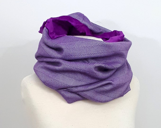 Wrap conversion winter cowl / neck warmer / snood -- Soft minky - Yaro yolka purple repreve